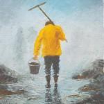 007: Pêcheur à pieds, huile sur toile, 27x19