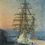 013: Le Gloria, trois mats à Rouen, huile sur toile, 46x38