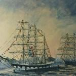 015: Le Belem à Rouen, huile sur toile, 46x38