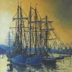 017: La Belle Poule, l'Etoile et la Recouvrance à Rouen, huile sur toile, 81x65