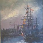 019: Le Kaskelot à Rouen, huile sur toile, 81x65