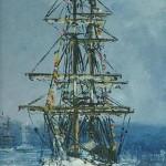 """022: Petit navire anglais""""2 mâts"""", aujourd'hui disparut, huile sur toile, 27x19"""