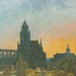 025: Le vieux St Etienne et la petite Gloriette à Caen, huile sur toile, 41x33