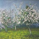 030: Pommiers en fleurs à Houlgate, huile sur toile, 65x54
