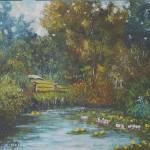 034: Mare à Vauville en Auge, huile sur toile, 27x22, disponible à la vente.