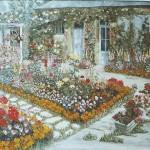 041: Jardin à Démouville, huile sur toile, 116x89, disponible à la vente.