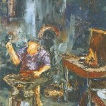 042: Feu Marcel Daniel père à la forge, huile sur toile, 35x27