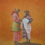 99-Femmes des Aït Tadgalt, huile sur toile, 27x22, disponible à la vente.
