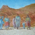 101-Femmes des Aït Tadgalt sur le chemin, huile sur toile, 35x24, disponible à la vente.