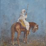 111- Cavalier- N°1, huile sur toile, 18x14, disponible à la vente.