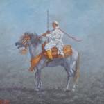 108- Cavalier-N°2, huile sur toile,27x22, disponible à la vente.