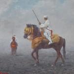 105- Cavaliers-N°3, huile sur toile, 27x22, disponible à la vente.