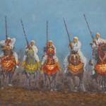 106- Cavaliers- N°4, huile sur toile, 35x24.