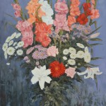 Le bouquet, huile sur toile, 130x81,