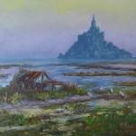 Le mont Saint-Michel, huile sur toile, 27x22